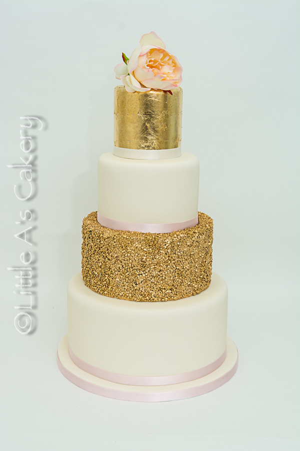 Edible gold and sequin cake