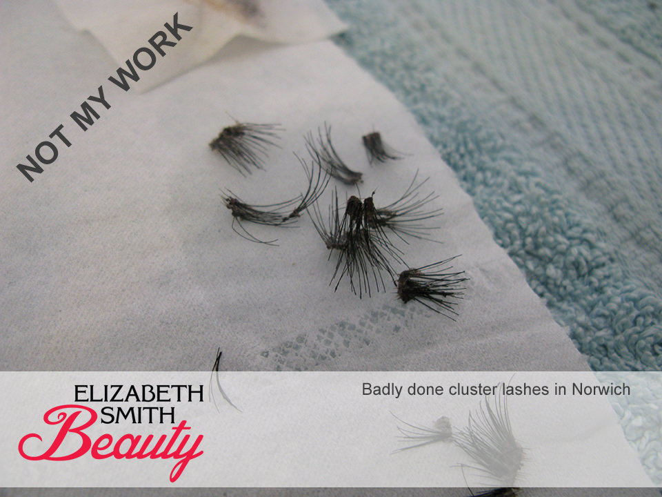 cluster lashes removed