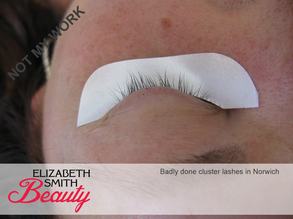 poorly done cluster lashes