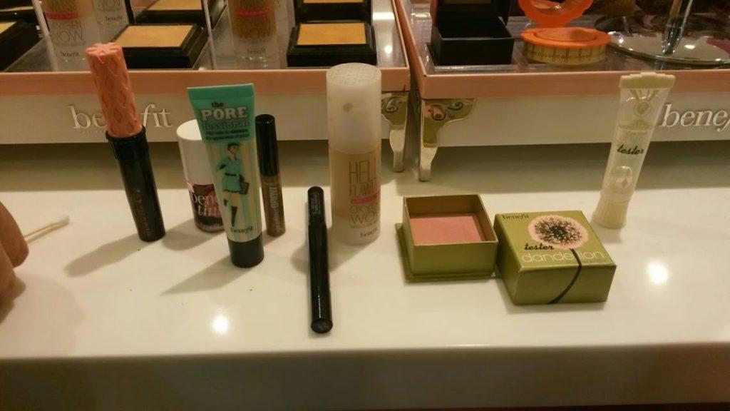 wedding make-up at beauty counter