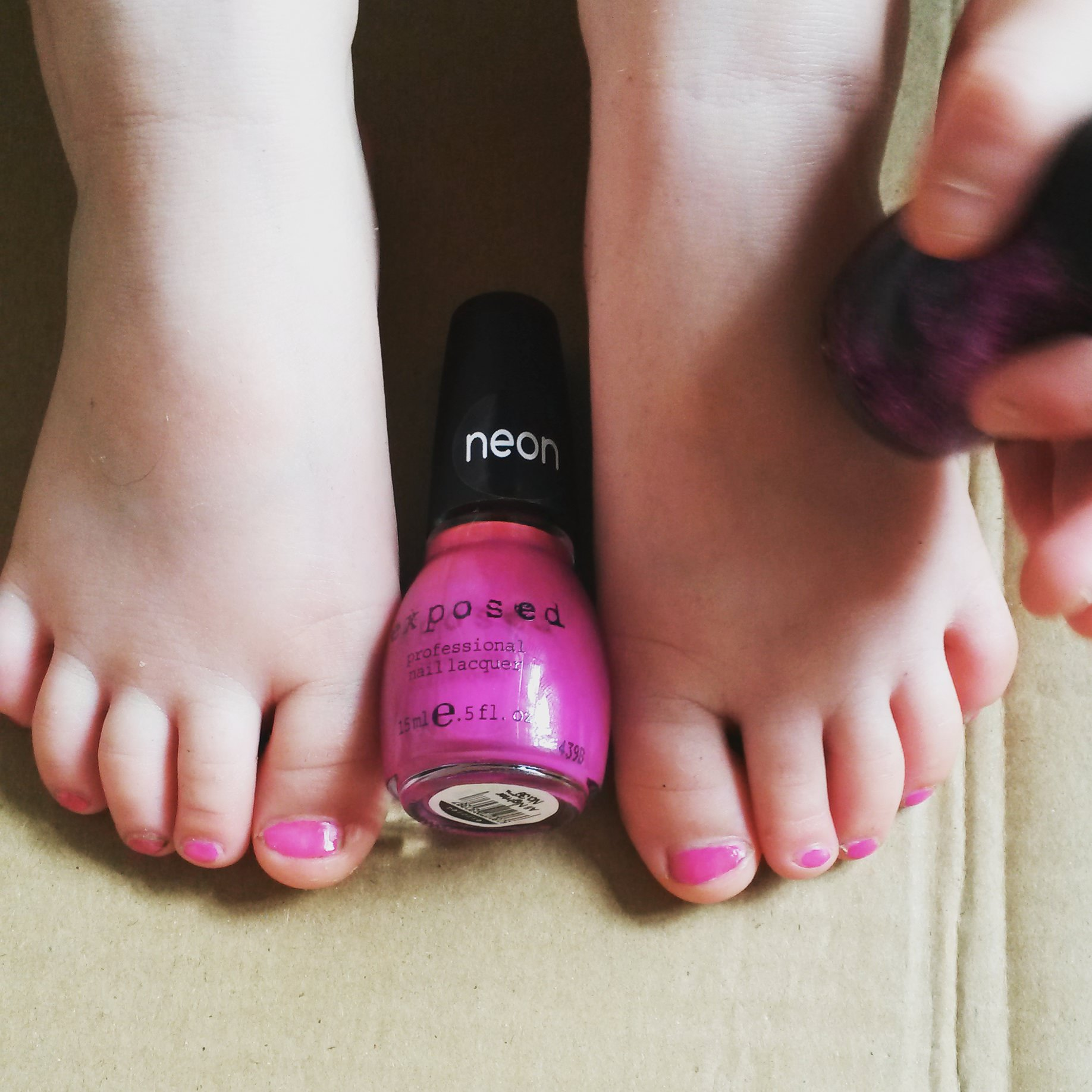 """Neon exposed 'all nighter' from #nrwsummer blogger event. """"I need glitter on top"""" Jessica age four. #exposedpolish"""