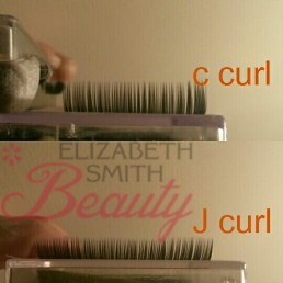 Comparing curls in eyelash extensions