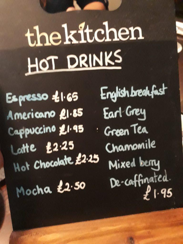 menu for afternoon tea