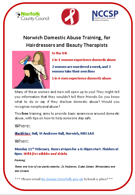 Norwich domestic training for hairdressers and beauticians